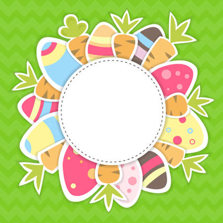 Illustration of Easter carrots and eggs pattern on a green Vector