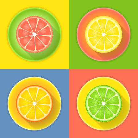 Illustration of Citrus fruits four icons Vector