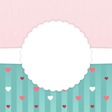stripped: Illustration of Pink and blue stripped card template with hearts Illustration