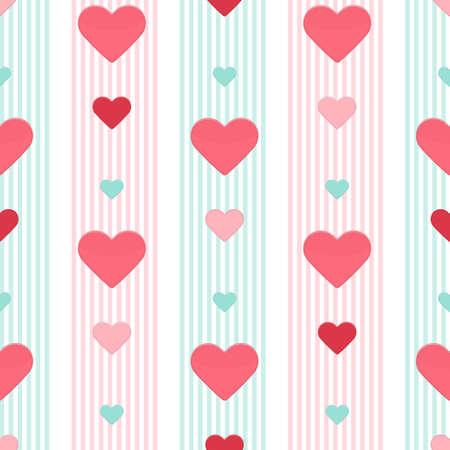 strippad: Illustration of Seamless heart pink blue stripped pattern