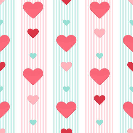 Illustration of Seamless heart pink blue stripped pattern