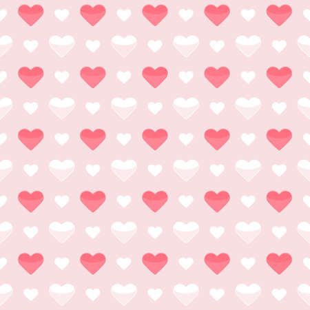 Illustration of Seamless pattern cute red and white hearts on a pink