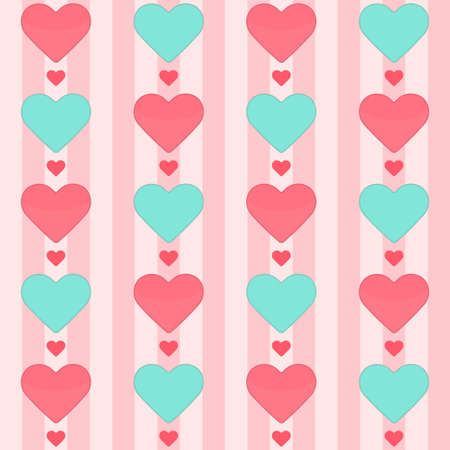 Illustration of Seamless pattern with many hearts on a pink