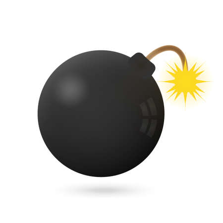 Illustration of Bomb icon on a white with fire Stock Vector - 27580051