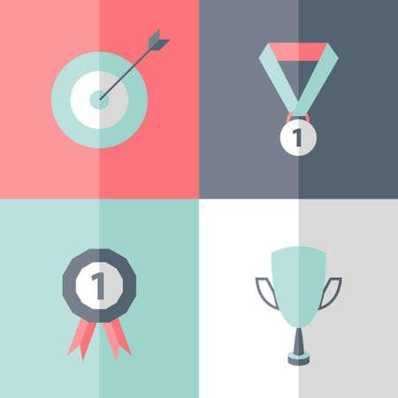 career success: Illustration of Flat career success icons set