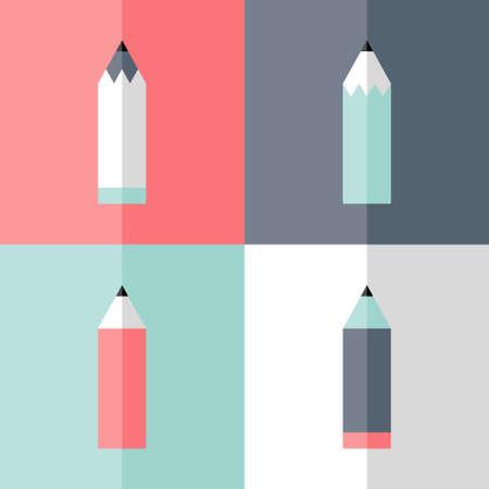 lapices: Ilustraci�n de l�piz plana conjunto de iconos