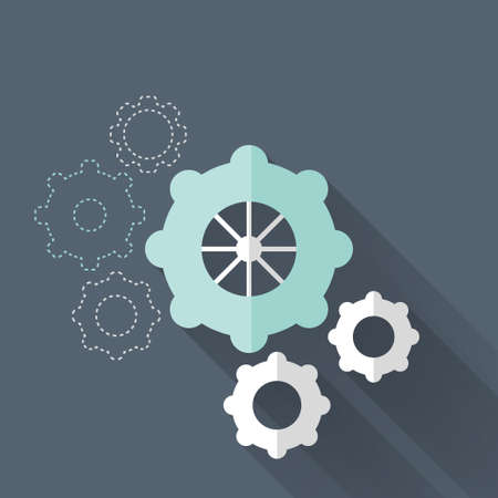 Illustration of Flat gear wheel icons over blue Vector