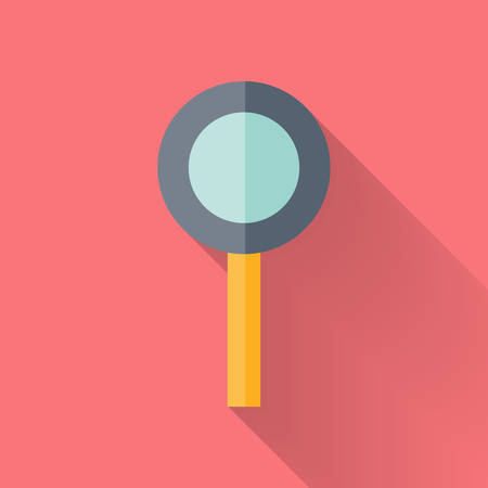 Illustration of Flat loupe icon over pink