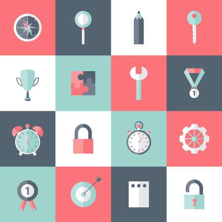 sucsess: Illustration of many Business flat icons set