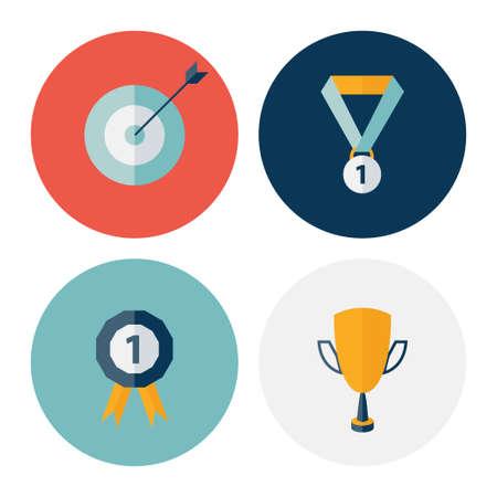 career success: Illustration of Flat circle career success icons set