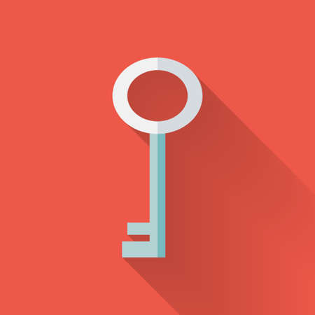 Keys: Illustration of Flat key icon over red