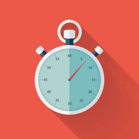 Illustration of Flat stopwatch icon over red Illustration
