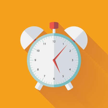 clock icon: Illustration of Alarm clock flat icon over yellow Illustration