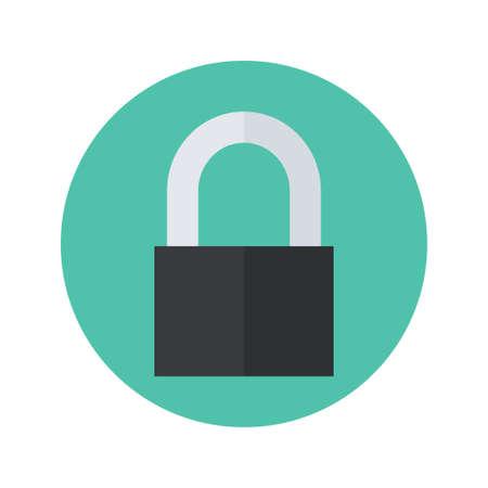 malware: Illustration of Flat closed padlock icon over green