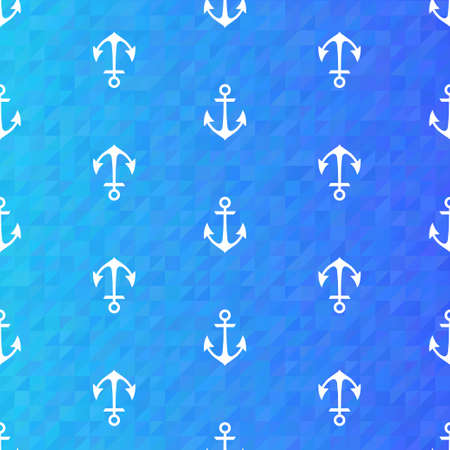 Illustration of Seamless blue pattern with white anchors Vector