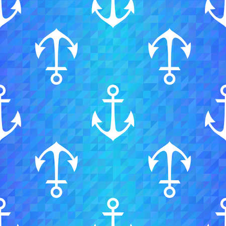 Illustration of Seamless blue triangle pattern with white anchors Vector
