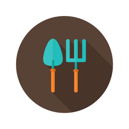 Illustration of Gardening Fork and Trowel flat icon Vector