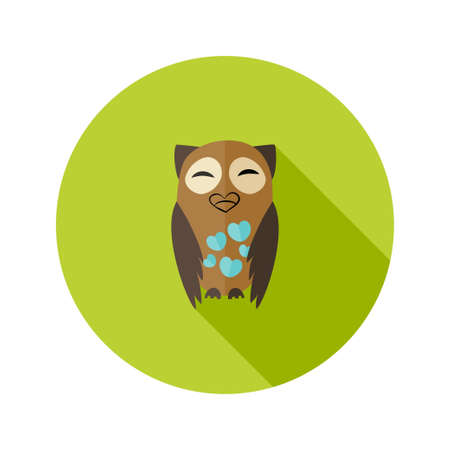 Illustration of Brown Owl Flat Icon with Hearts over Green Vector