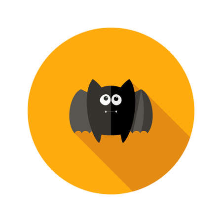Illustration of Halloween Bat Flat Icon with Fangs