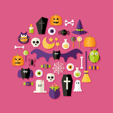 Illustration of Halloween Flat Icons Set Over Pink Vector