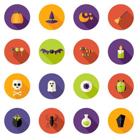 animal skull: Illustration of Halloween Colorful Flat Circle Icons Set