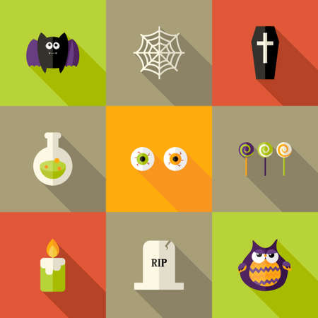 Illustration of Halloween Squared Flat Icons Set 1 Vector