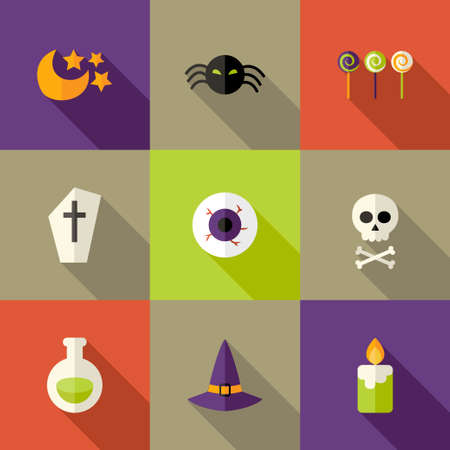 Illustration of Halloween Squared Flat Icons Set 3 Vector
