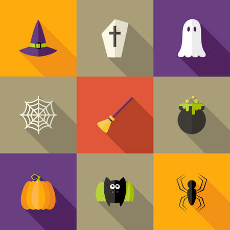 Illustration of Halloween Squared Flat Icons Set 4 Vector