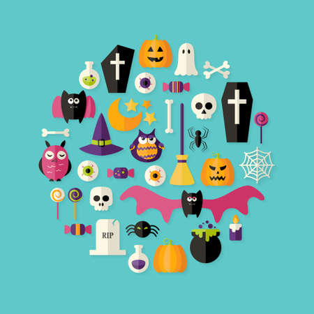 Illustration of Halloween Flat Icons Set Over Blue Vector