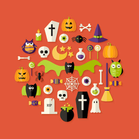 Illustration of Halloween Flat Icons Set Over Red Vector
