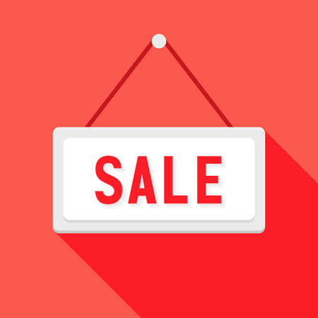 Illustration of White Sale Sign over Red Vector