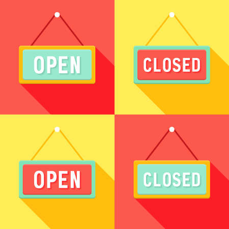 Illustration of Yellow Red Cyan Open and Closed Signs Set Vector