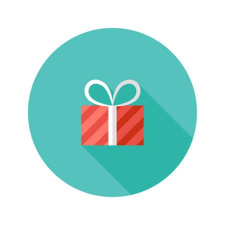 present box: Illustration of Christmas Stripped Present Box Flat Icon Illustration