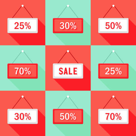 25 to 30: Illustration of Sale 25% 30% 50% and 70 % Sign Icons Set