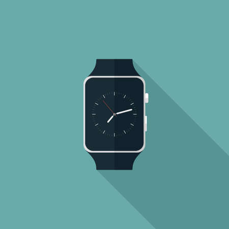 Illustration of Smart Watch Flat Icon over blue