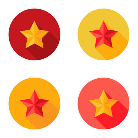 best location: Illustration of Christmas Yellow and Red Star Flat Set Circle Icon Illustration