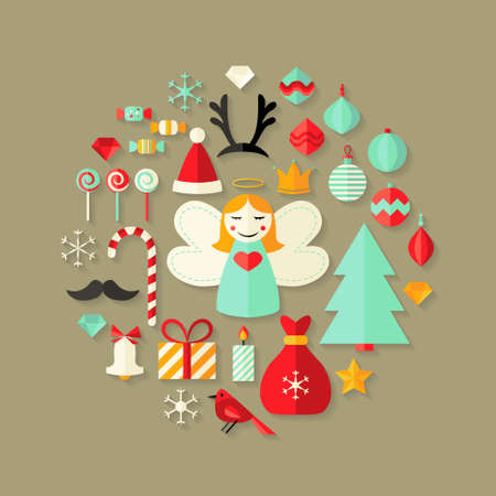 Illustration of Christmas Flat Icons Cute Set Over Light Brown Vector
