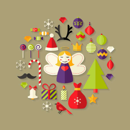 Illustration of Christmas Flat Icons Set Over Light Brown Vector