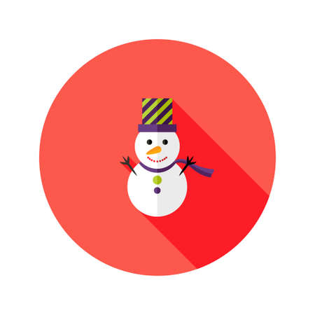 topper: Illustration of Christmas Snowman with Topper Hat Flat Icon Illustration