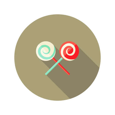 candy stick: Illustration of Christmas Spiral Candy Stick Flat Icon