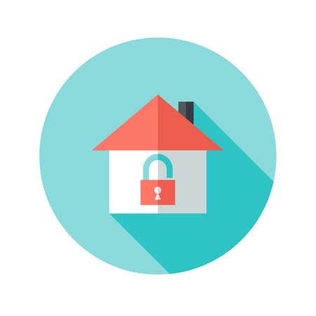 realestate: Illustration of Open House with Padlock Circle Flat Icon
