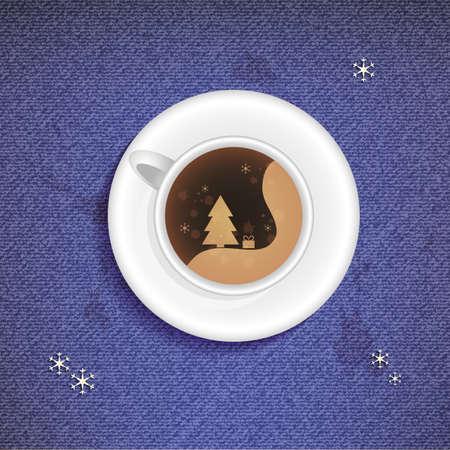 Illustratie van de Christmas Cup van koffie op een jeans achtergrond