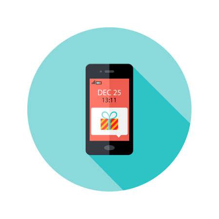 Ilustración de la Navidad Presente Notificación Smartphone Círculo Icono plana Ilustración de vector