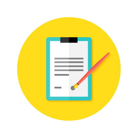 probation: Illustration of Contract Clipboard with Pen Flat Circle Icon Illustration