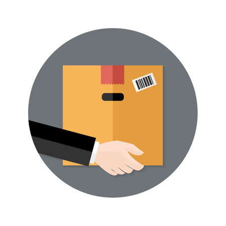 Illustration of Delivery Flat Circle Icon Hand holding Package Vector