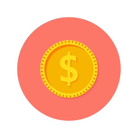 Illustration of Gold Dollar Coin Money Circle Flat Icon Illustration