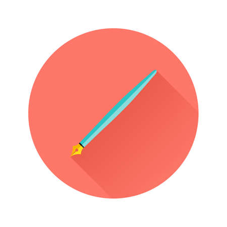 prototyping: Illustration of Pen Flat Circle Icon over Red