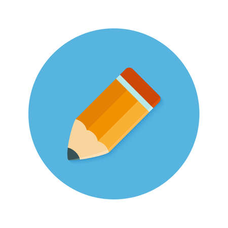 prototyping: Illustration of Pencil Flat blue Circle Icon