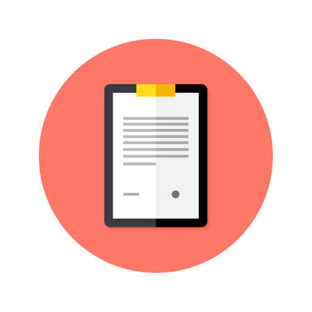 probation: Illustration of Business Clipboard Flat Circle Icon