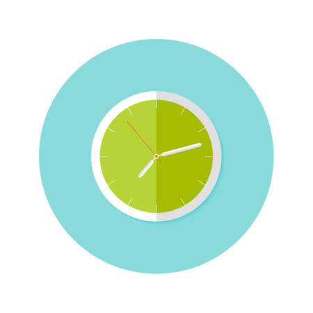 watch: Illustration of Clock Flat Circle Icon over Blue